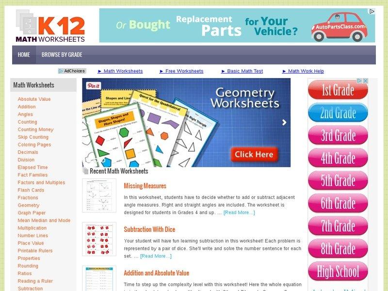Advertise On K12mathworksheets